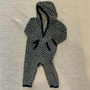 Baby Boy Tea Collection Hooded Long Sleeve Romper